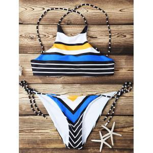 Fashion High Neck Striped Bikini Set For Women
