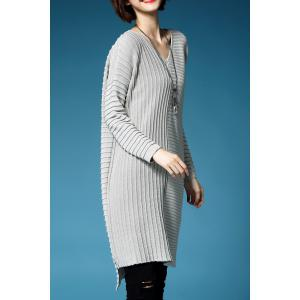 V Neck Ruched Oversized Sweater Dress -