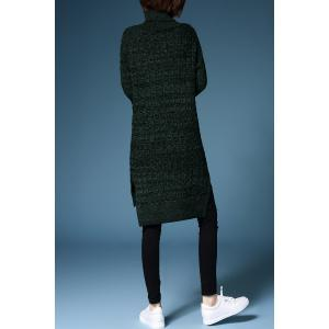 Turtleneck Cable Knit Long Sleeve Sweater Dress -