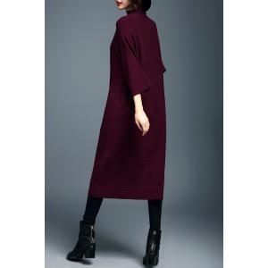Mock Neck Batwing Sleeve Sweater Dress -