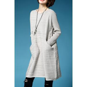 A Line Oversized Mini Sweater Dress - GRIEGE ONE SIZE(FIT SIZE XS TO M)