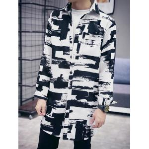 Abstract Print Turn-down Collar Long Sleeve Coat For Men -