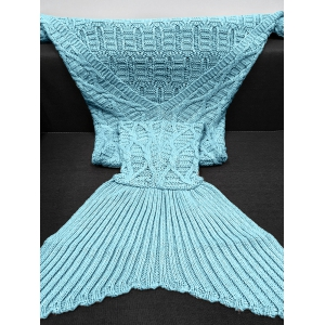 Simple Style Solid Color Crochet Knitting Geometric Pattern Mermaid Tail Design Blanket -