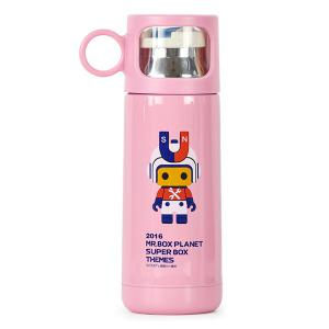 Fashion 350ml Cartoon Mr.Box Stainless Steel Vacuum Flasks Cup For Children - PINK