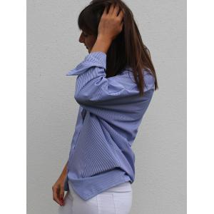 Fashion Shirt Collar Long Sleeve Striped Plus Size Women's Shirt -