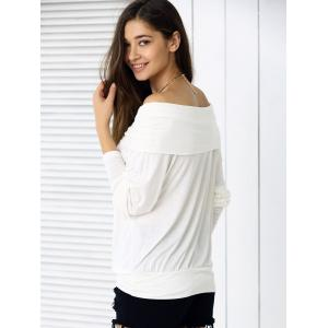 Loose Fit Pure Color Long Sleeve Tee - OFF WHITE XL