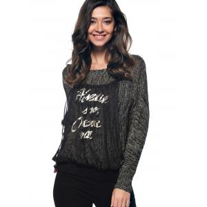 Trendy Long Sleeve Spliced Letter Scoop Neck Marled Knitted Blouse -