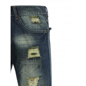 Cotton+Jeans Holes and Cat's Whisker Design Bleach Wash Zipper Fly Denim Pants -