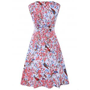 Sleeveless Sweetheart Neck Retro Floral Skater Dress - COLORMIX 2XL