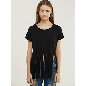 Chic Pure Color Fringed T-Shirt For Women -