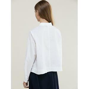 Brief Women's Pure Color Pleated Shirt -