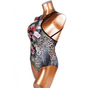 Trendy Floral Print Leopard Pattern Criss Cross Women's Swimwear - LEOPARD XL