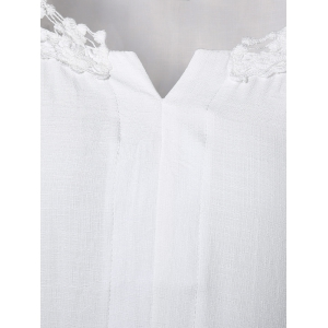 Plus Size Lace Trim Curved Hem Blouse - WHITE 4XL