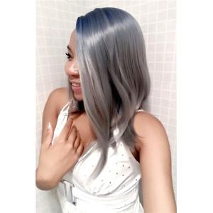 Fashion Medium Straight Side Parting Mixed Color Women's Synthetic Hair Wig -
