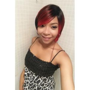 Stylish Side Bang Synthetic Short Fluffy Straight Black Red Mixed Wig For Women -