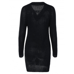 Women's Lace-Up Long Sleeve Black Furcal Sweater -
