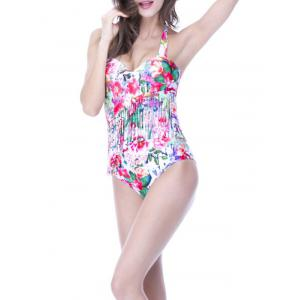 Charming Halter Floral Print Fringed Women's Swimwear -