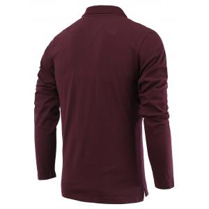 Applique Long Sleeve Turn-Down Collar Polo T-Shirt - WINE RED 3XL