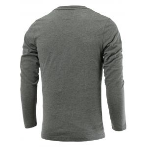 Letter Embroidery Long Sleeve V-Neck T-Shirt - DEEP GRAY 3XL