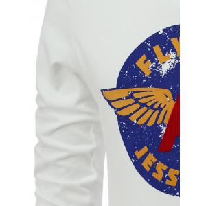 Letters and Wings Print Long Sleeve Round Neck T-Shirt -