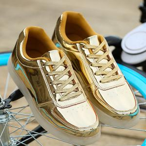 Trendy Lights Up Led Luminous and Metal Color Design Casual Shoes For Men - GOLDEN 43
