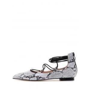 Stylish Snake Print and Criss-Cross Design Flat Shoes For Women -
