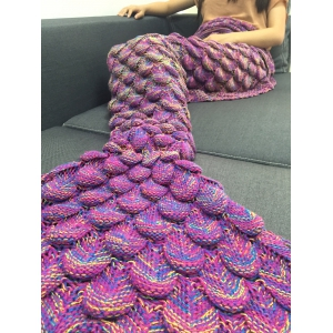 Fashion Knitting Raised Fish Scale and Tassel Design Mermaid Shape Sofa Blanket -