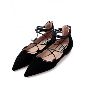 Trendy Black and Criss-Cross Design Flat Shoes For Women -