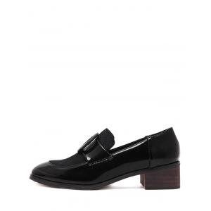 Preppy Splice and Round Buckle Design Pumps For Women -