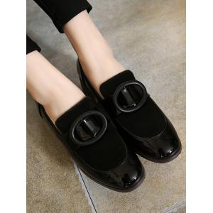 Preppy Splice and Round Buckle Design Pumps For Women - BLACK 38