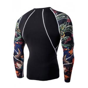 3D Printing Round Neck Long Sleeves Quick-Dry T-Shirt For Men - BLACK 2XL