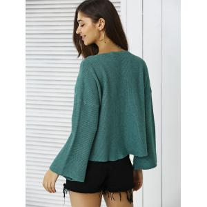 Simple Flare Sleeve Ribbed Sweater For Women -