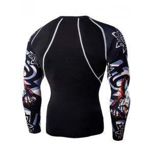 3D Wolf Head Print Round Neck Long Sleeves Compression T-Shirt For Men - BLACK 2XL