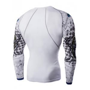 Round Neck 3D Skulls Print Long Sleeves Compression T-Shirt For Men - WHITE 2XL