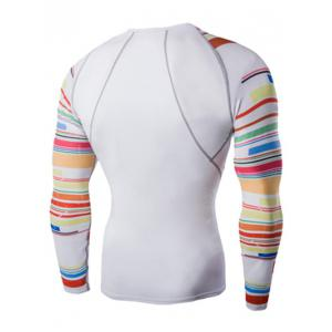Colorful Stripes Round Neck Long Sleeves Quick-Dry T-Shirt For Men - WHITE 2XL