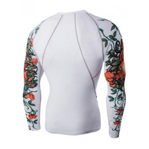 Sports 3D Flower Print Long Sleeves Compression T-Shirt For Men -
