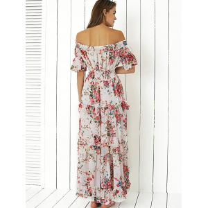 Bohemian Off The Shoulder Floral Hawaiian Maxi Dress - WHITE XL