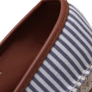Simple Striped and Espadrilles Design Flat Shoes For Women -
