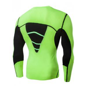 Color Block Round Neck Long Sleeves Compression T-Shirt For Men -