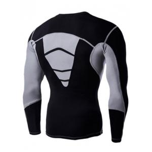 Color Block Round Neck Long Sleeves Compression T-Shirt For Men - BLACK 2XL