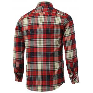 Tartan Pockets Design Turn-Down Collar Long Sleeve Shirt -