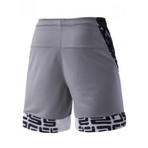 Mesh Design Abstract Pattern Spliced Lace-Up Sports Shorts For Men -