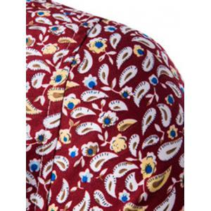 Casual Shirt Collar Fitted Floral Shirt For Men - RED 2XL