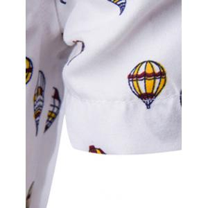 Fire Balloon Printing Fitted Shirt Collar Short Sleeves Shirt For Men -