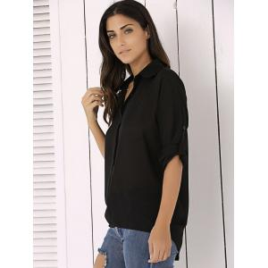 Long Sleeve Chiffon Button Up Casual Tunic Shirt - BLACK L