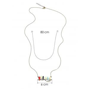 Candy Colored Birds Branch Sweater Chain - COLORMIX