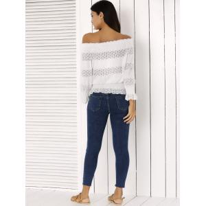 Fashion Off The Shoulder Peplum Top and Distressed Skinny Jeans - DENIM BLUE L