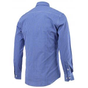 Small Grid Pocket Embellished Turn-Down Collar Long Sleeve Shirt -