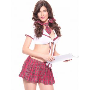 Chic Splicing Plaid Women's Cosplay Suit -