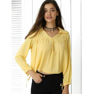 Freshing Pleated Pure Color Long Sleeve Cropped Shirt -